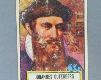 Johannes Gutenberg Trading Card, 1952 TOPPS Look 'n See Card, No. 129, Collectors Trading Card