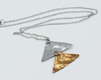 Two Toned Pyramid Necklace