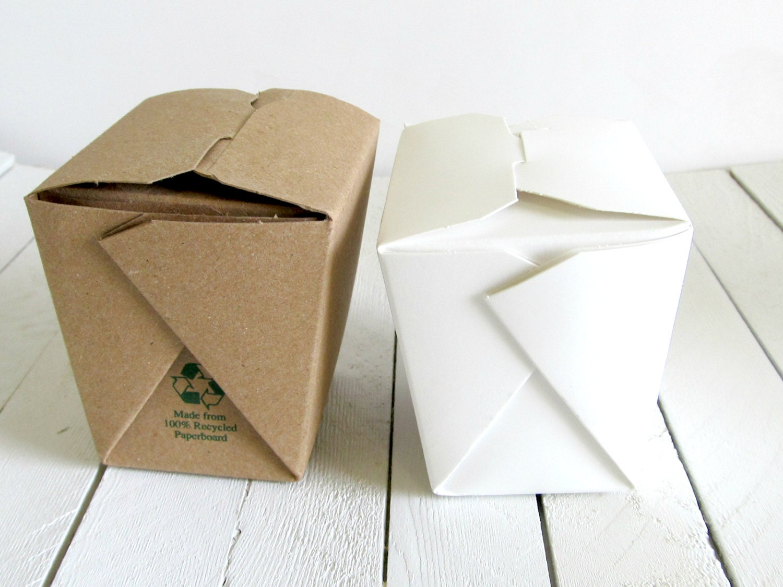Set of 100 - 16 oz. 1 Pint Kraft Chinese Take Out Boxes - Perfect ...
