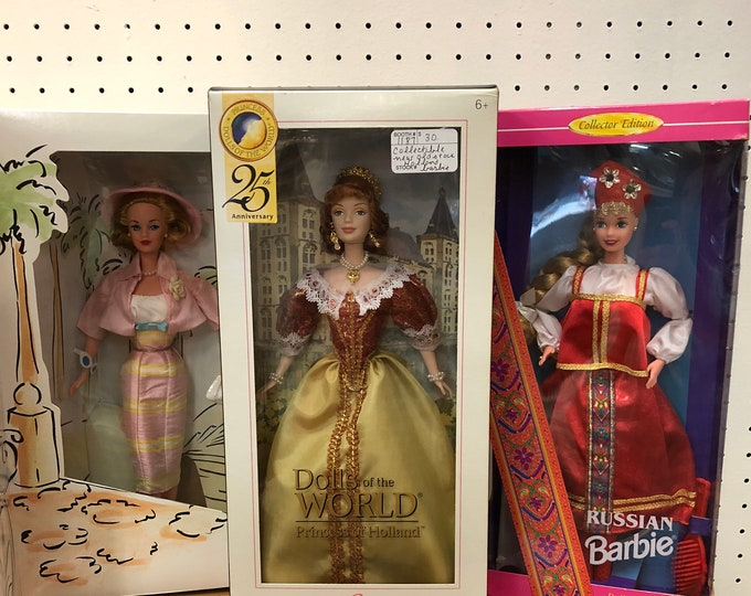 Collectible New Old Stock Vintage Barbies, Summer Sophisticate, Princess of Holland, Russian Barbie