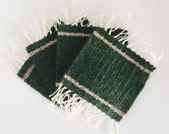 Woven Coasters | Set of 4 | Forest Green & Beige