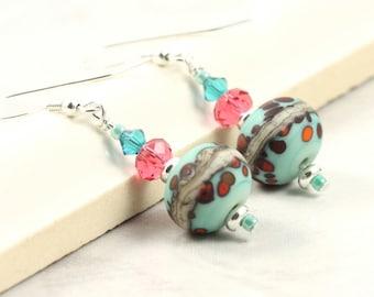 Lampwork Earrings, Blue and Pink, Crystal Earrings, Sterling Silver Ear Wires, Bright Colors, Teal Earrings, Handmade Beads, Girlfriend Gift