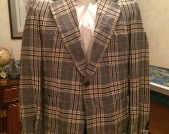 Cashmere Plaid Blazer - 1970s - Mens - Medium 40R - Yellow, Black, Gray - Bullock's - Wool and Cashmere Blend - Preppy - Classy