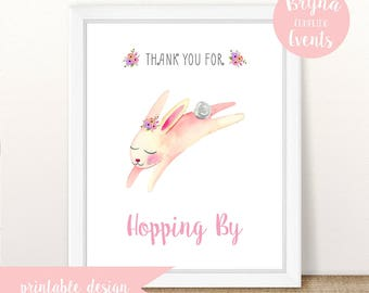 Instant Download, Printable, Thank You For Hopping By, Some Bunny Is One Birthday Party, Floral Watercolor Bunny, Girl Bunny Birthday Party