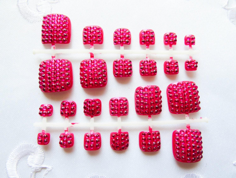 Hot Pink Rhinestone Toenails, Fake Toenails, Toenails, Toe Nails ...
