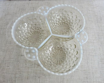 Vintage Candy Dish Vintage Nut Dish Condiment Dish Trinket Dish Hobnailed Three Section Serving Dish Vintage Fenton Dish - V321