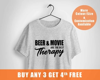 Beer and Movie are the Best Therapy Shirt,parent shirt,80s Retro Shirt,Movie Shirts,craft beer t-shirt,funny mens shirts,Fast Shipping to US