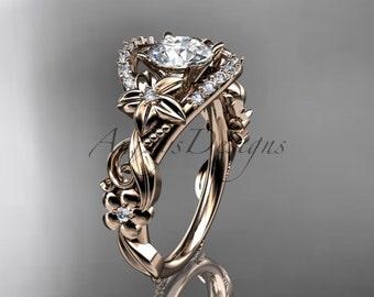 Flower Engagement Ring - 14k Rose Gold - White Sapphire Ring - Anniversary Ring - Women's Wedding Ring - Unique Ring