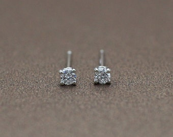14k white gold 0.1 ct natural diamond stud solitaire earring gift Diamond Solitaire pair of earrings