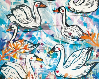 Swans Art Print - A4 and A3- Artwork - Nature - Widlife