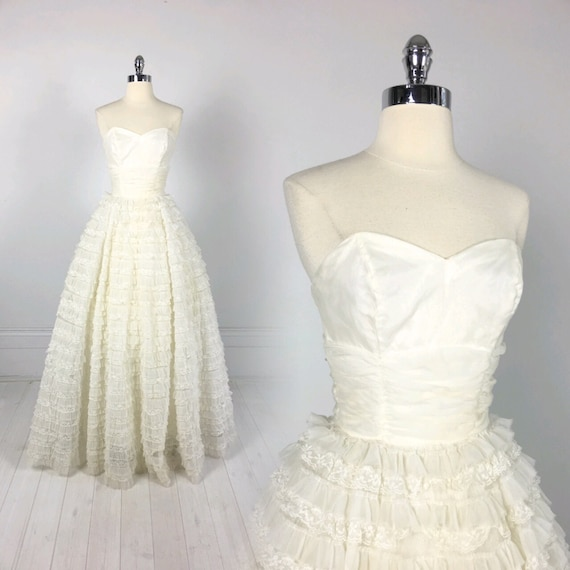 Vintage 50s Frothy Tulle CUPCAKE DRESS prom wedding formal