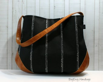 The Snoho Slouch Bag - Beaded Stripes in Black with Vegan Leather