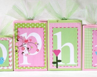 Sophia Collection Personalized Blocks - Owls and Birds Name Blocks - Pink and Green