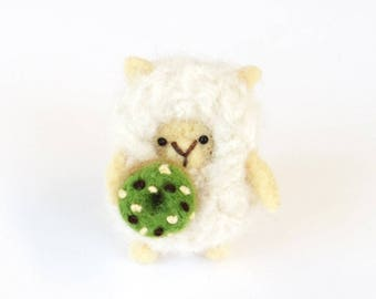 Needle felted sheep brooch, miniature felt lamb with a green tea donut, animal pin, Christmas gift