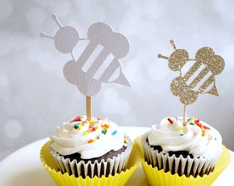 Bee cupcake topper, glitter set of 12 cupcake toppers