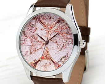 Vintage World Map Watch | Gifts For Travelers | Antique Jewelry | Watch Women | Men's Watch | Vintage Style Leather Watch | FREE SHIPPING
