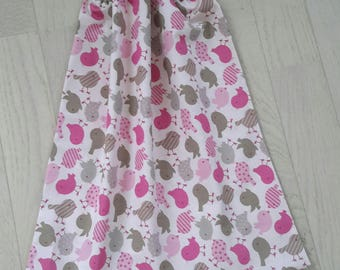 Elastic towel/bib pink and taupe for children 18 months to 6 years