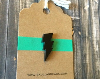 Black Lighting Bolt Lapel Pin / Tie Tack - Laser Cut Acrylic - Tack Backing with Clutch Clasp - Electricity - Zap - Zigzag