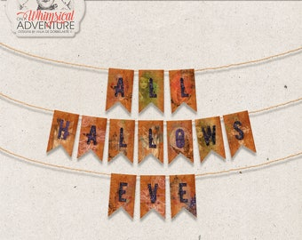 All Hallows Eve, Halloween Decoration, Party Ideas, Printable Party Banner, Instant Download, Digital Collage Sheet, Halloween Garland
