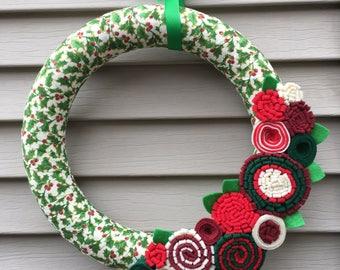 Christmas Wreath - Fabric Wreath - Holiday Holly Wreath - Felt Flower Wreath -Holiday Wreath -Ribbon Wreath -Primitive Wreath -Holiday Decor
