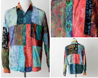 Vintage Men's Shirt Quilt Pattern XBD - 80s Retro Large L Wild Colorful