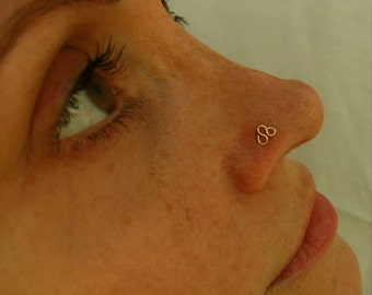 14K Gold Filled-Solid Gold-Trinity-Nose Stud-Tragus-Earrings-Customized / Free US Shipping