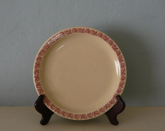 Caribe China Restaurant Ware  F-1 Tan Plate-Red Vine Trim 7 1/2 Inch Made in 1953