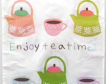 PAPER NAPKINS x 20 - ENJOY TEATIME teapot and Cup REF. 3730