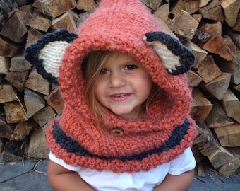 Failynn fox cowl, fox hat, animal hat, crochet hooded cowl, fox hood, animal hooded cowl, crochet cowl, fox snood, crochet snood, fox hat