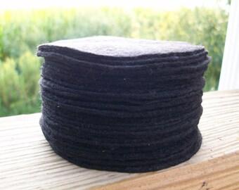 Black 3 inch Round Hand Cut Wool Felt Circles 30 pcs