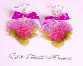 Earrings fuchsia and purple hydrangea