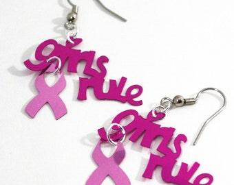 Pink Earrings Girls Rule Earrings Pink Metallic Ribbon Dangles Plastic Sequins