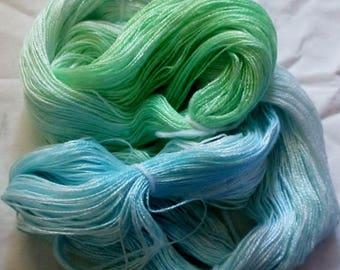 Hand dyed Tencel Yarn - 4/2 Tencel Lace Wt. Yarn  SEA FOAM - 420 yards