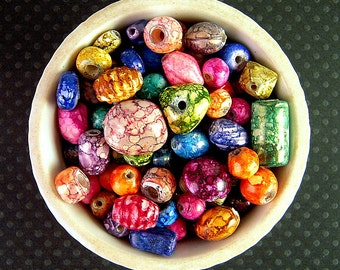 BRIGHT Glass Bead Mix, 7mm, 15mm, NEW Wholesale, 7 Ounces, Colorful Chunky Beads, Bright Mottled, Kids Craft, Tribal India Glass Beads X13