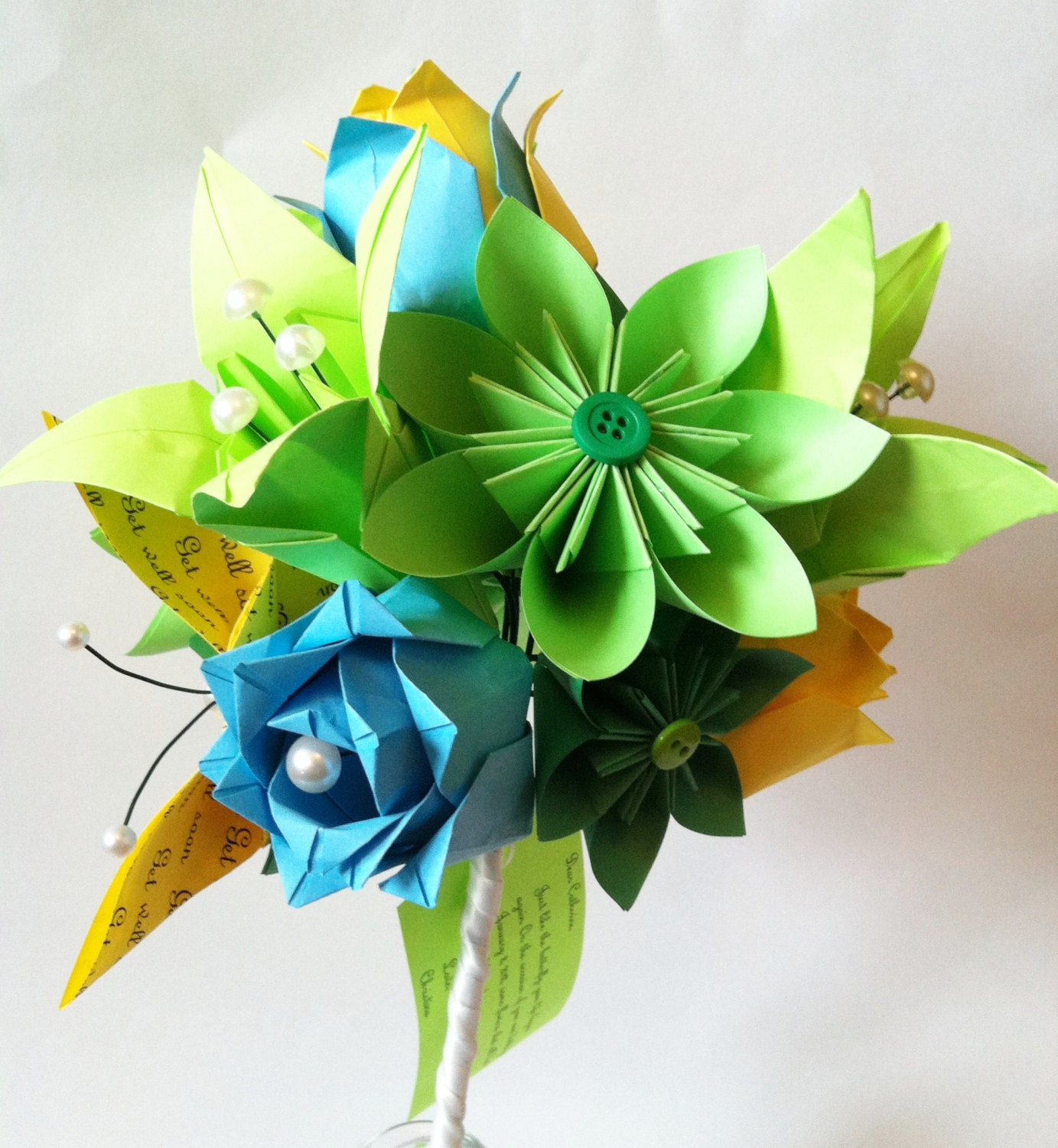 Get Well Soon Paper Flower bouquet hospital friendly eco