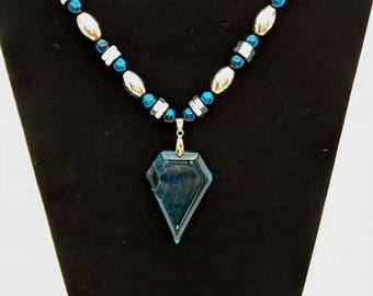 Blue Stone Pendant Necklace