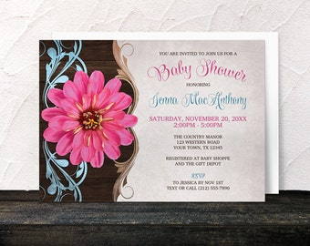Pink Zinnia Baby Shower Invitations Girl - floral country design - printed invitations