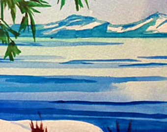 California Lake Tahoe Winter watercolor painting with snow 5x7