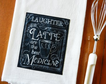 Chalkboard Tea Towel, Coffee Flour Sack Dish Towel, Applique Kitchen Towel, Chalkboard Kitchen Towel, Coffee Lover Gift, Latte