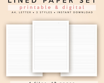 Lined/Ruled Paper Set | A4 and Letter | Printable, Digital (GoodNotes/Notability, etc) | Instant Download