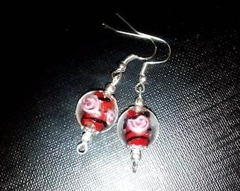 Pearl drop long rose earrings