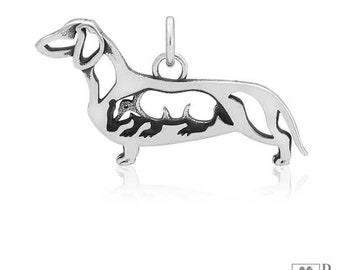 Sterling Silver Smooth-coated Dachshund Pendant, Body With Badger