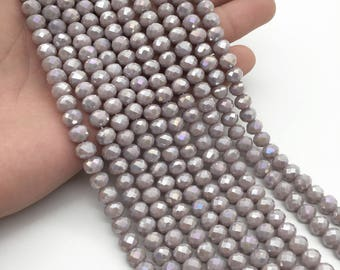 8x6mm Faceted Light Purple Glass Beads, Glass Rondelle Beads