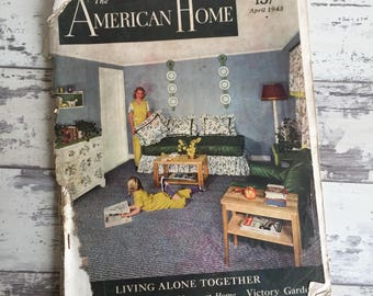 Vintage The American Home Magazine April 1943 Fashion Home Interior Garden Advertising Large Format - Crafting
