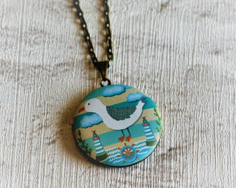 Seagull Locket Necklace, Bird  Necklace, Animal Jewelry