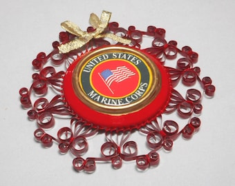 US Marine Corps Ornament Recycled Aluminum Can Quilled