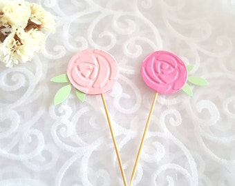 Flower cupcake toppers ,First Birthday, bridal shower, Food picks, flower drink stirrers, tea party decor, pink cupcake  toppers,