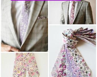 Custom Purple Wedding Ties, Liberty of London Necktie, lilac groomsmen tie, purple cotton ties, lavender tie, purple liberty of london tie