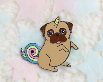 Pug Pin | Unipug Pin | Unicorn Pug Brooch | Hard Enamel Pin | Pug Gift | Gift for Puglover | Valentines Gift | Unicorn Gift | Nais Products