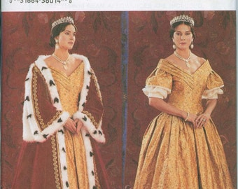 OOP Queen Victoria Costume Sewing Pattern Butterick 3713 Size 6-8-10 Gown Fur Trim Robe